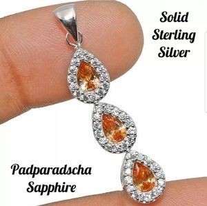 Jewelry - 💋 Padparadscha Sapphire Sterling Silver Pendant
